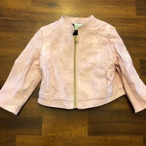 Pink Faux-leather Toddler Jacket